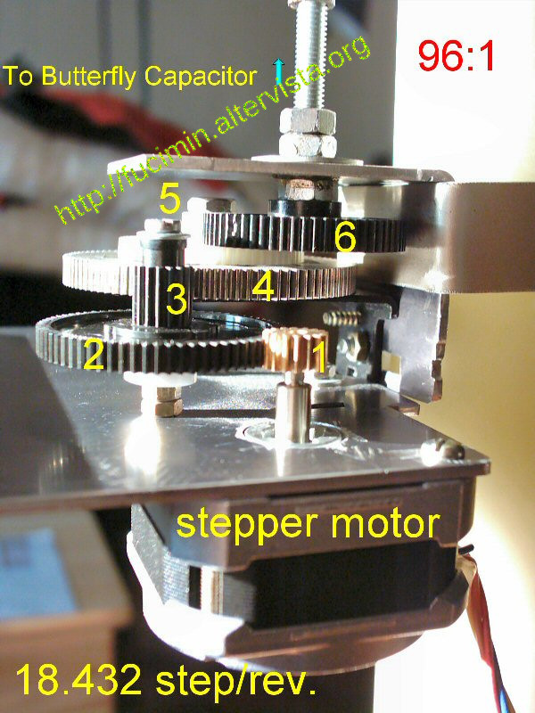 stepper motor for tuning the butterfly capacitor